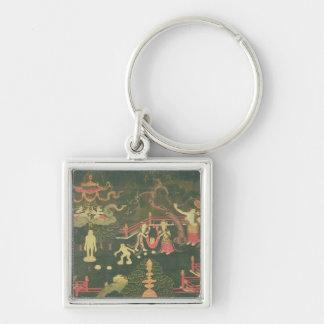 The Life of Buddha Shakyamuni Silver-Colored Square Key Ring