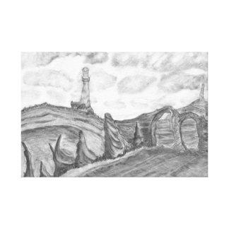 The Lighthouse Pencil Drawing Coastal Landscape Canvas Print