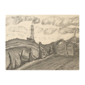 The Lighthouse Pencil Drawing Coastal Landscape Wood Wall Art