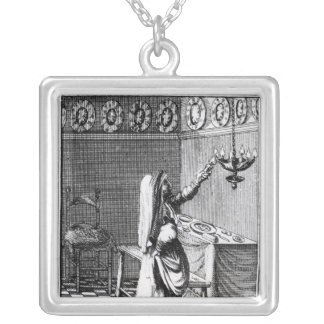 The Lighting of the Sabbath Candles Silver Plated Necklace