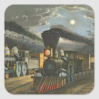 The Lightning Express Trains, 1863 Square Sticker
