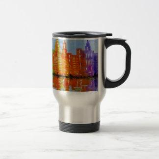 The lights metropolis, travel mug