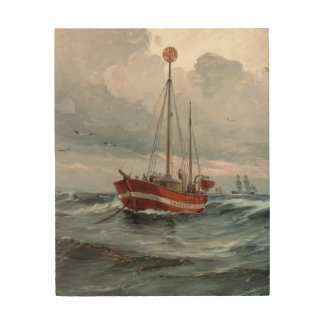 The lightship at Skagen Reef Wood Print