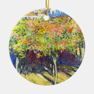 The Limes at Poissy Claude Monet cool, old, master Double-Sided Ceramic Round Christmas Ornament
