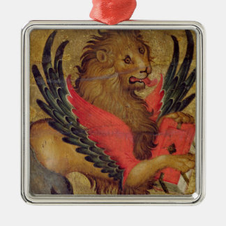 The Lion of St. Mark (oil on panel) Silver-Colored Square Decoration