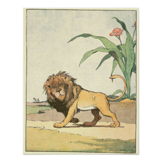 The Lion Story Book Illustration Poster