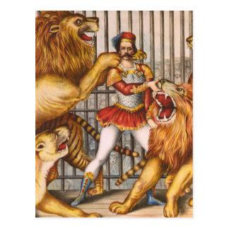 The Lion Tamer Vintage Circus Poster Postcard