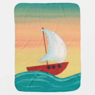 The little Boat to Sunrise Baby Blanket