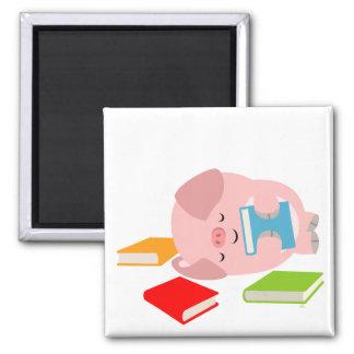 The Little Book Lover (Cute Cartoon Pig) Magnet