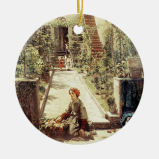 The Little Flower Girl (oil on canvas) Christmas Ornament