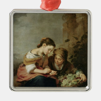 The Little Fruit-Seller, 1670-75 Silver-Colored Square Decoration