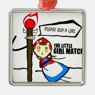 the little girl match TEST Silver-Colored Square Decoration