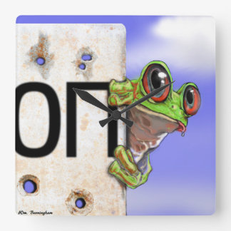 The little green frog in the Ukraine Conflict Square Wall Clock
