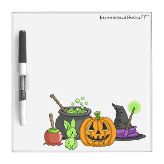 The Little Green Halloween Bunny Dry Erase White Board