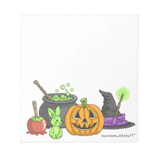 The Little Green Halloween Bunny Notepad