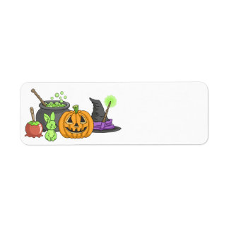 The Little Green Halloween Bunny Return Address Label