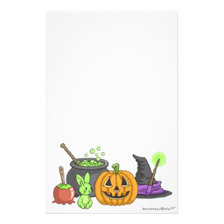 The Little Green Halloween Bunny Stationery