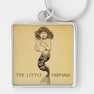 The Little Mermaid Silver-Colored Square Key Ring
