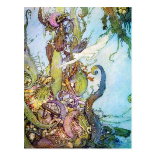 The Little Mermaid vintage art postcard