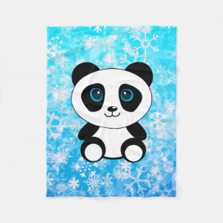The Little Panda on a Snowy Day Fleece Blanket