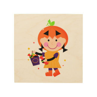 The little Pumpkin head girl on wood Wood Canvases