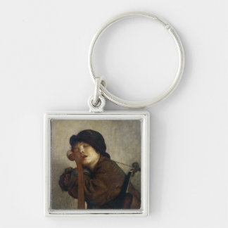 The Little Violinist Sleeping, 1883 Silver-Colored Square Key Ring