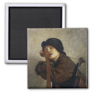 The Little Violinist Sleeping, 1883 Square Magnet