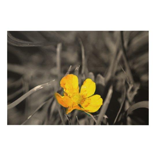 The little yellow flower wood wall art