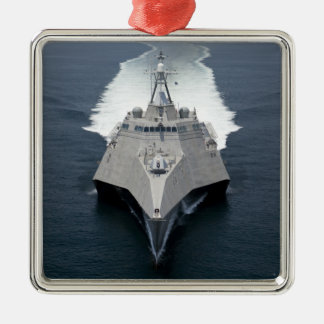 The littoral combat ship Independence Silver-Colored Square Decoration