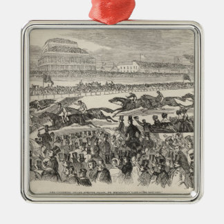 The Liverpool Grand Steeple Chase on Wednesday Silver-Colored Square Decoration