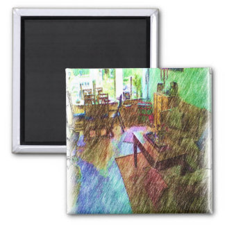 The Living room Square Magnet