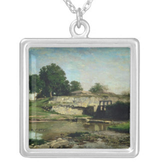 The Lock at Optevoz, 1859 Silver Plated Necklace