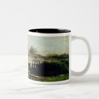 The Lock at Optevoz, 1859 Two-Tone Coffee Mug