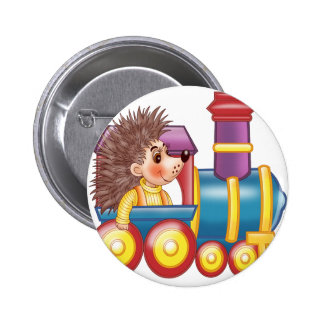 the locomotive and the hedgehog 6 cm round badge