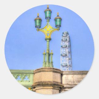 The London Eye And Westminster Bridge Round Sticker
