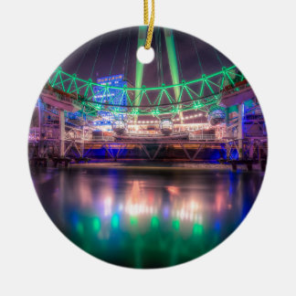 The London Eye on St. Patrick's Day Round Ceramic Decoration