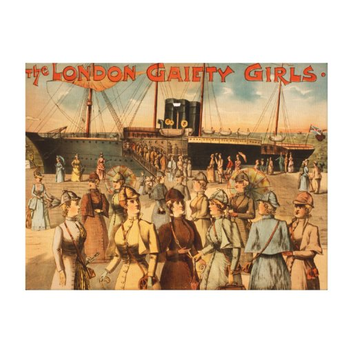 """The London Gaiety Girls """"Arrival to New York"""" Stretched Canvas Print"""