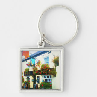 The London Inn Padstow Cornwall Watercolour Silver-Colored Square Key Ring