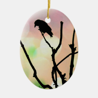 The Lonely Crow Oval Ornament