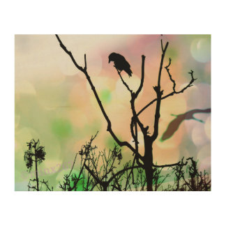 The Lonely Crow Wood Print
