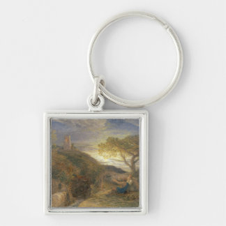 The Lonely Tower, 1868 (w/c & bodycolour and gum a Silver-Colored Square Key Ring