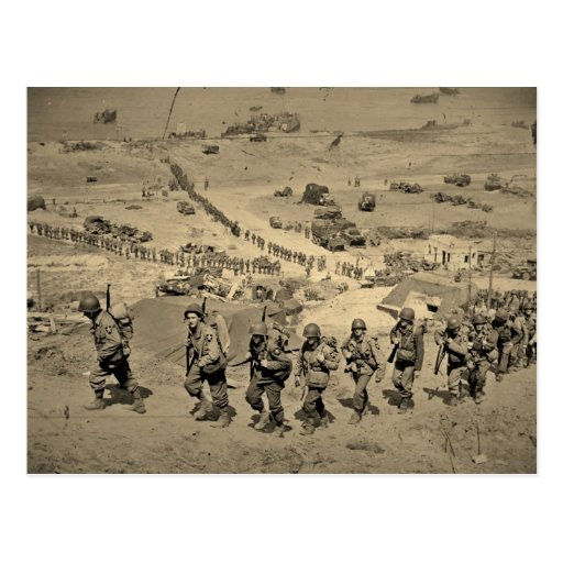 The Long Line From Omaha Beach Postcards
