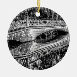 The Long White Bridge (b&w).jpg Christmas Ornament
