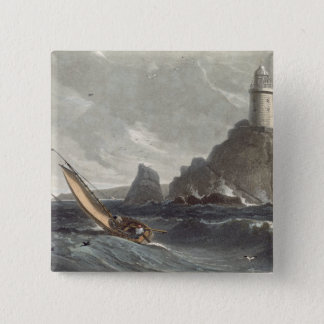The longships lighthouse of Lands End, Cornwall, f 15 Cm Square Badge
