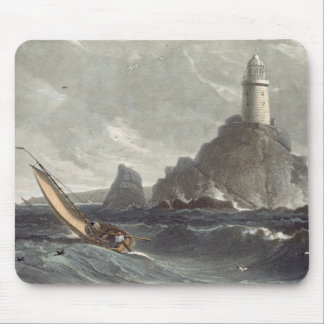 The longships lighthouse of Lands End, Cornwall, f Mouse Mat