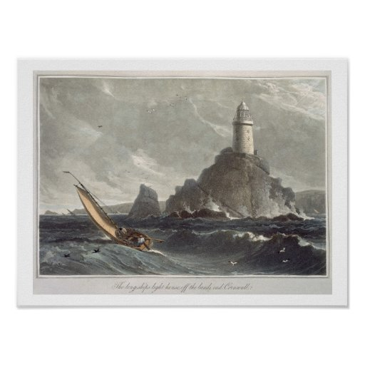 The longships lighthouse of Lands End, Cornwall, f Print