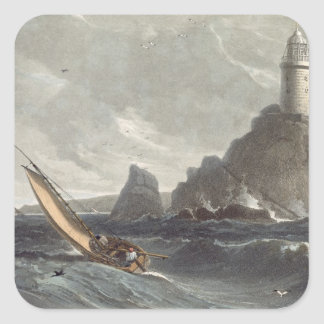 The longships lighthouse of Lands End, Cornwall, f Square Sticker