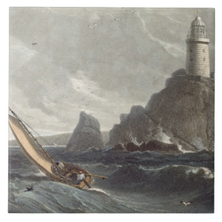 The longships lighthouse of Lands End, Cornwall, f Tile