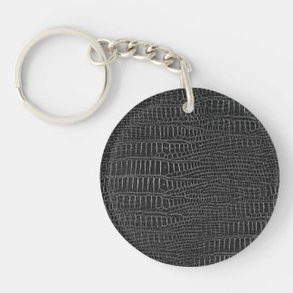 The Look of Black Realistic Alligator Skin Double-Sided Round Acrylic Key Ring