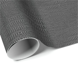 The Look of Black Realistic Alligator Skin Wrapping Paper